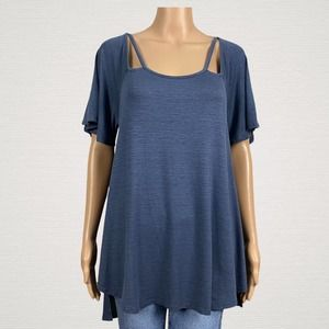 Promesa Strappy Shoulder Back Tunic Shirt MEDIUM